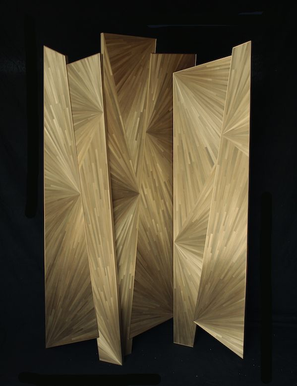 straw marquetry & patinated brass screen by French artisan Yann Jallu