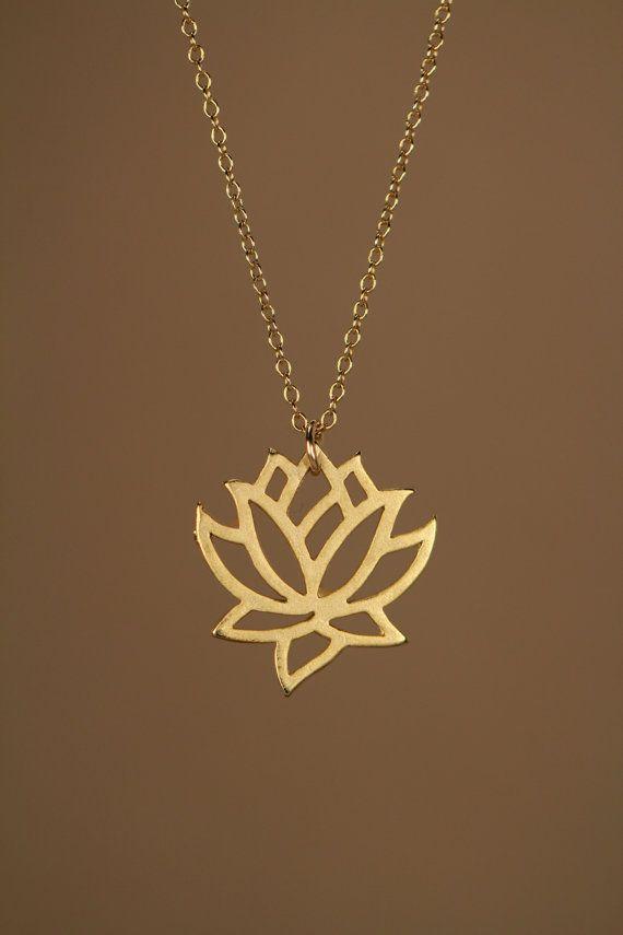 Halskette gold Lotus Blume Yoga Halskette blühenden von BubuRuby