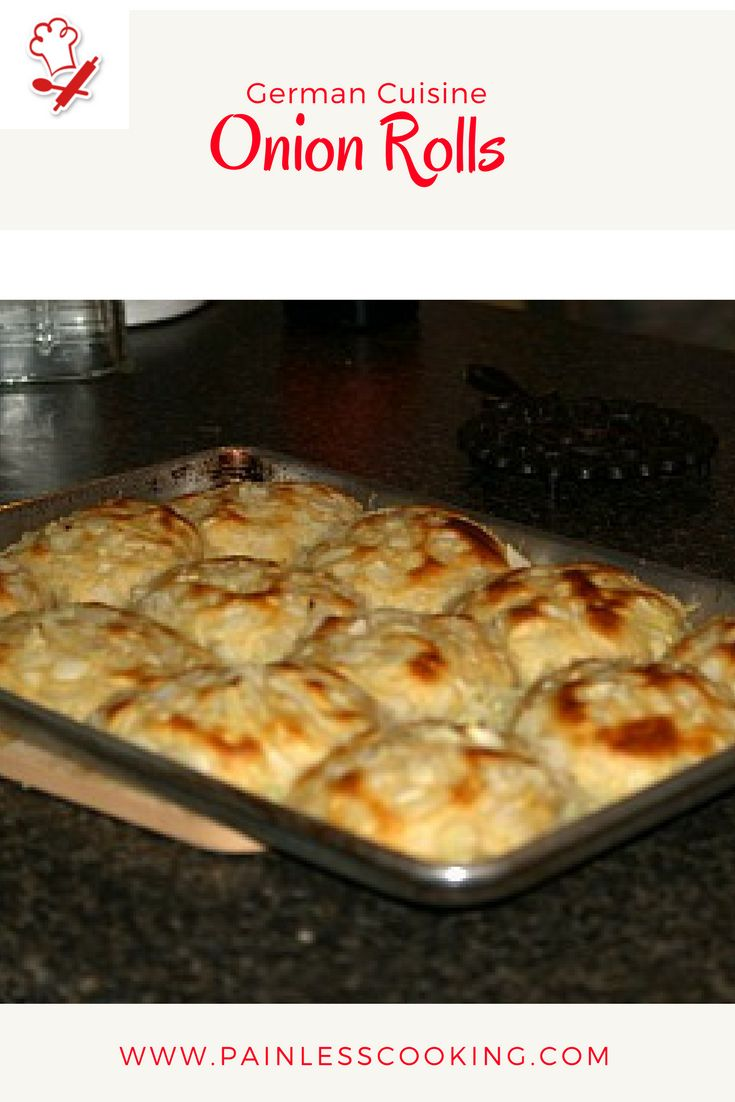 Learn how to make German cuisine. This recipe for onion rolls is made for holidays and special occasions. Prepare yeast, stir in flour and knead. Cover and let rise. Punch down and shape into balls, dip in egg batter and roll in onions. Place on cookie sheet and let rise. Bake 12 minutes or until brown.