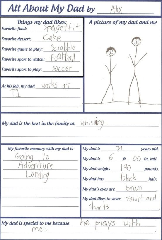 Fathers Day or Dads Birthday - Have your kids complete every year to see how their views on dad change
