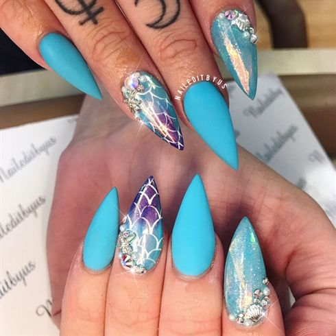 Mermaid Nails  by Naileditbyus from Nail Art Gallery