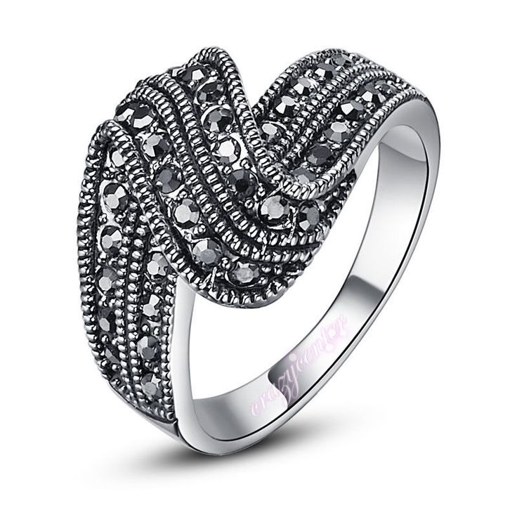 Women Vintage Ring Black Marcasite Ring Sliver Tone Hot Sale Jewelry Gift R254