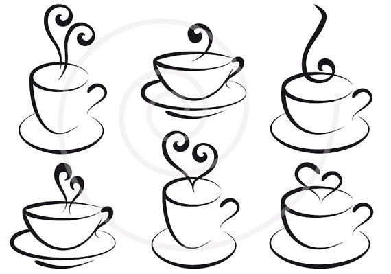 We could each pick a cup :) Set of coffee and tea cups with hearts, digital clipart, clip art, clip-art, graphic design, scrapbook, vector, instant download