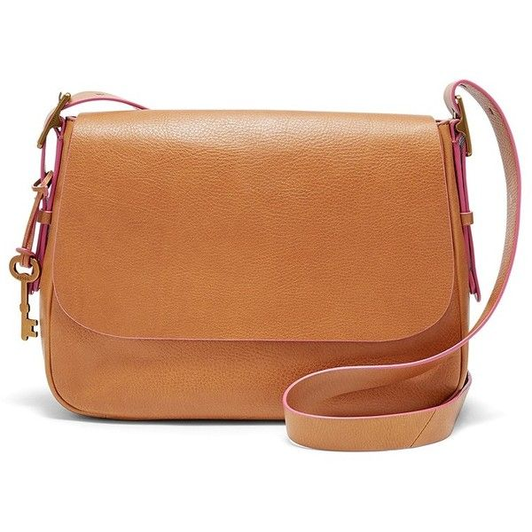 Fossil Harper Large Saddle Crossbody ($198) ❤ liked on Polyvore featuring bags, handbags, shoulder bags, crossbody purses, pebbled leather handbags, fossil shoulder bags, fossil handbags and fossil purses