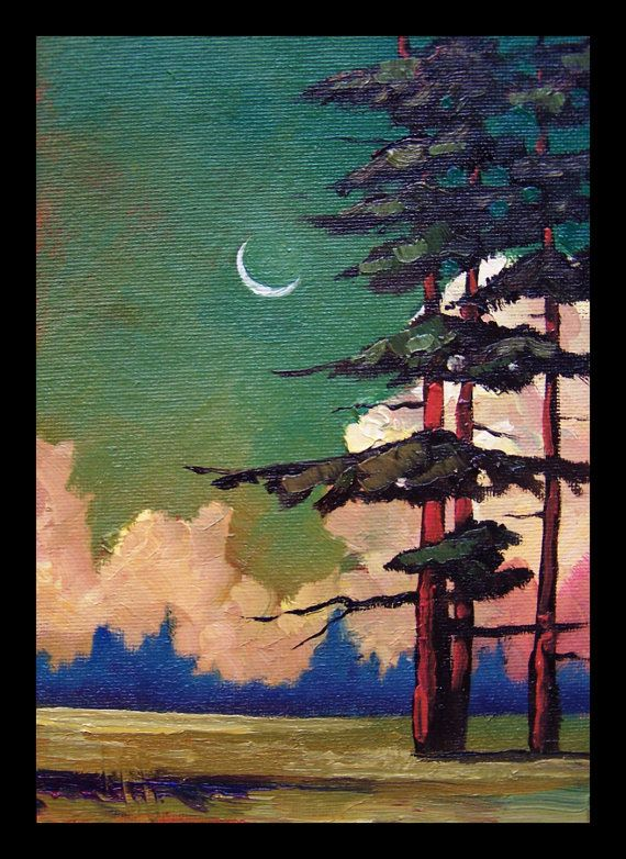 Small Miniature Impressionist Art Oil Landscape Western by ARTpaco,
