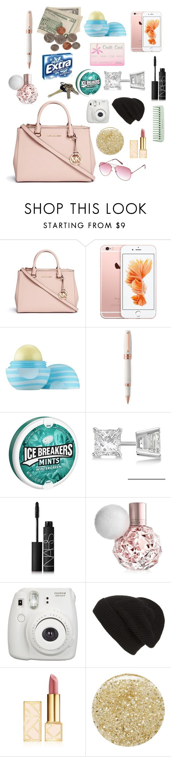 """What's in my purse"" by kroyals179 ❤ liked on Polyvore featuring beauty, Michael Kors, Eos, Montegrappa, Allurez, NARS Cosmetics, Phase 3, Tory Burch, Lancôme and Charlotte Russe"