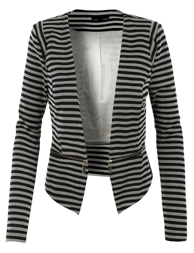 LE3NO Womens Slim Fit Striped Blazer Jacket with Detachable Hem