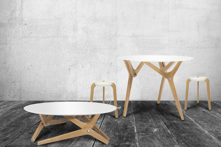 boulon-blanc. oak poplar and steel convertible table