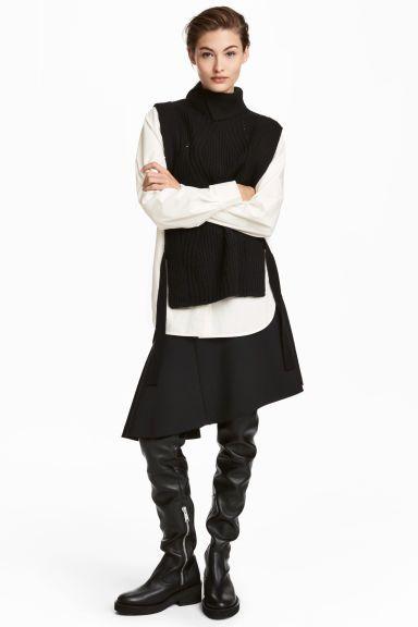 Asymmetrische rok van wolmix - Zwart - DAMES   H&M NL 1