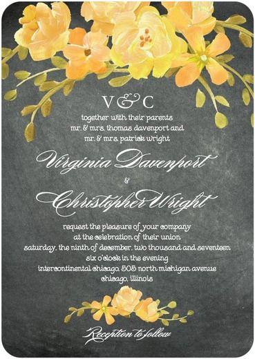 Chalkboard Floral - Signature White Wedding Invitations - Coloring Cricket - Orange Sherbet - Orange : Front
