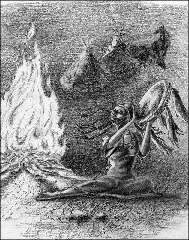 Колдунья застывает у костра, лицо ее становится отрешенным. «Я вижу горы, но дух мой летит дальше. Я вижу путь Железного Коня, который грохочет и изрыгает дым, но дух мой летит дальше. Я вижу каменный лес! Над ним кругами снижается стервятник. Все ниже... ниже... У этой птицы человеческое лицо! О воин, я знаю, где ты должен искать своего врага!..» И она начинает описывать валуны и скалы так подробно, будто вы видите их своими глазами.