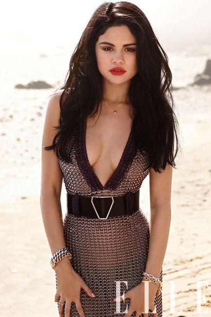 Selena Gomez in Yves Saint Laurent Fall 2012 RTW Metal Chain Dress