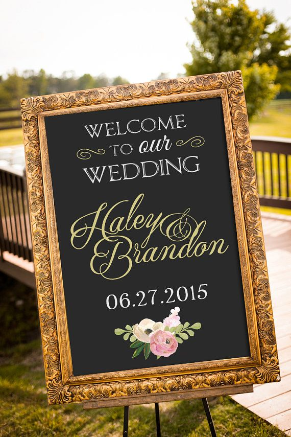 An elegant black and gold chalkboard wedding sign to welcome your guests on your special day! Simply print and frame! *frame shown is just an example* This listing is for a PRINTABLE large wedding sign for you to print on your own. A chalkboard black is standard, but custom background colors CAN be requested during checkout. Available in 5 sizes (please let me know if you require another size than ones shown) File will be emailed to the email address on file with etsy. WHERE DO I PRINT TH...