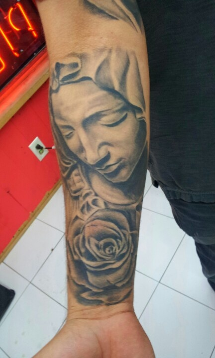 Virgin mary and rose chest tattoo | Tattoos by Adrian