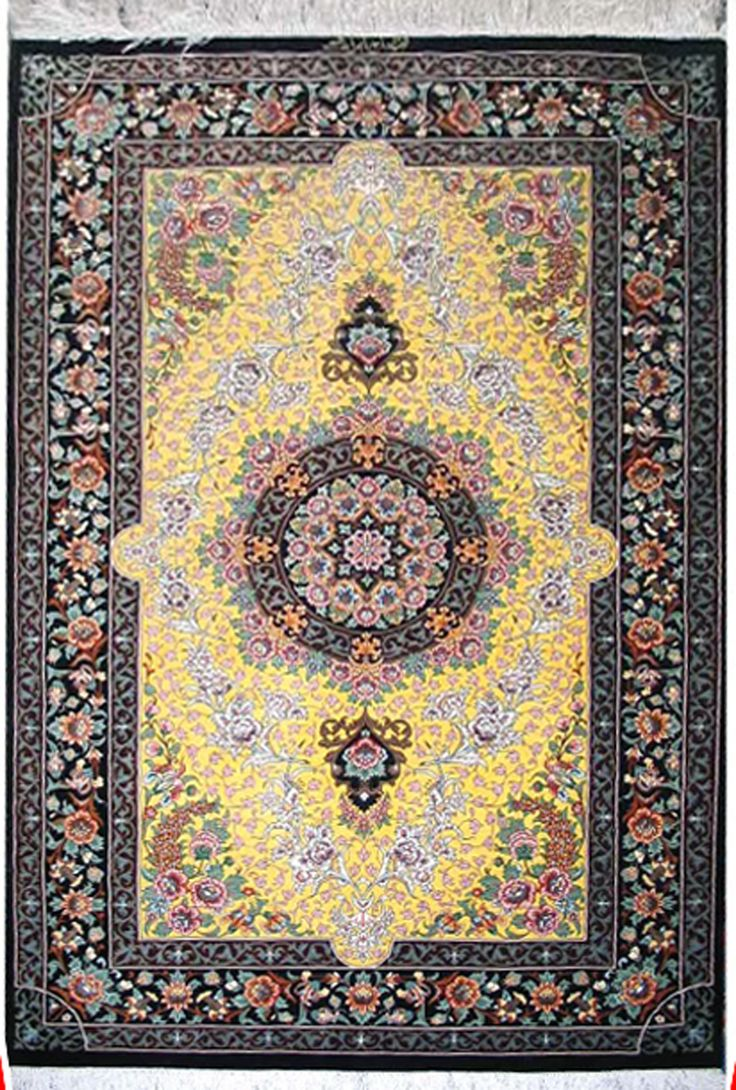 Qum Silk Persian Rug | Exclusive collection of rugs and tableau rugs - Treasure Gallery Qum Silk Persian Rug You pay: $7,900.00 Retail Price: $14,500.00 You Save: 46% ($6,600.00) Item#: CS-Q12 Category: Small(3x5-5x8) Persian Rugs Design:  Size: 150 x 200 (cm)      4' 11 x 6' 6 (ft) Origin: Persian, Qum (Qom) Foundation: Silk Material: Wool & Silk Weave: 100% Hand Woven Age: Brand New KPSI: 800