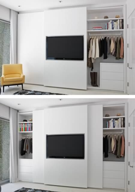 At first glance this just appears like a well-organized wardrobe closet, but if you take a closer look you'll see one of the most creative closets ever! Designed by Lisa Adams of LA Closet Design, the clean, modern closet design features a flat screen on one of the sliding doors. Brilliant use of space! Great work Lisa! (Link | Via)
