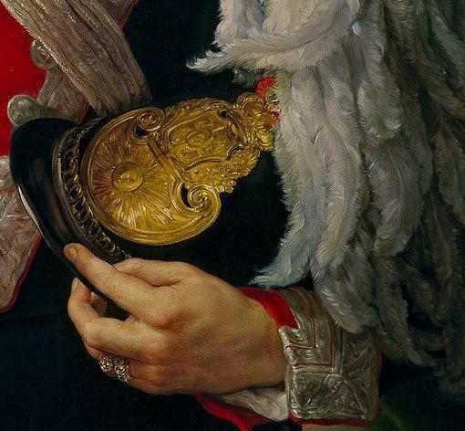 Vicente Lopez Portana: Il colonnello Juan de Zengotita Bengoa. Olio su tela del 1842. Museo del Prado, Madrid. La mano regge l'elmo da parata appoggiato al petto: è nero, dal grande simbolo dell'arma dorato e con il pennacchio dalle bellissime piume, morbide e lunghe.