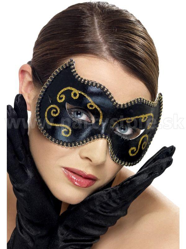 """Maska - škraboška """" Persiano Gatto """" čierna s leskom"""