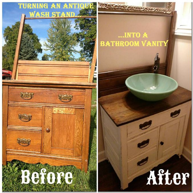 DIY: Turning an Antique Wash Stand into a Bathroom Vanity