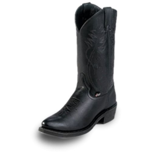 "Justin Basic Cowhide Ranch and Road Men's Work Boots in BlackVamp-Black LeatherTop-12 InchToe-Soft Round (J12)Heel-1 9/16 Inch ""H""Insole-CushionOutsole-Black Rubber UtilityJustin brings you fashionable, durable boots at an affordable price with their Justin Basics boots. These boots feature leather uppers and a 12"" shaft height- a great height for almost any person. The outsole i..."