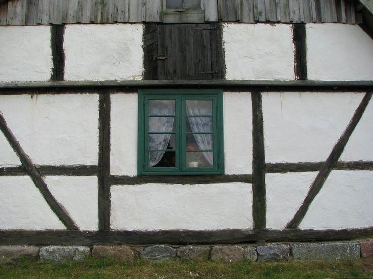 Open air museum in Nadole. Pomerania region. Timber framing.