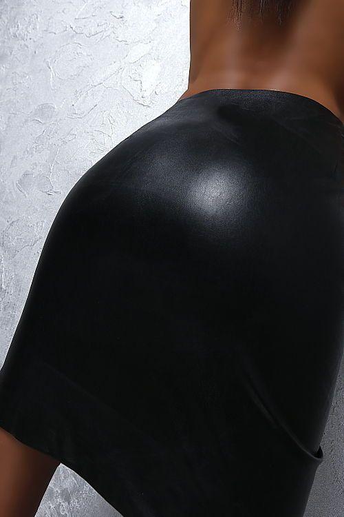 NEU 2018 ITALY LEDER OPTIK LEATHER LOOK STRETCH Damen Skirt D90 Rock SCHWARZ M