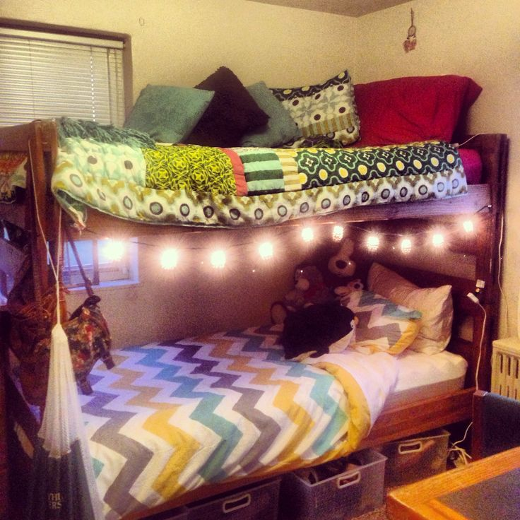 College Dorm Bunk Beds C O L L E G E Pinterest Hanging Lights Colleges And Quilt