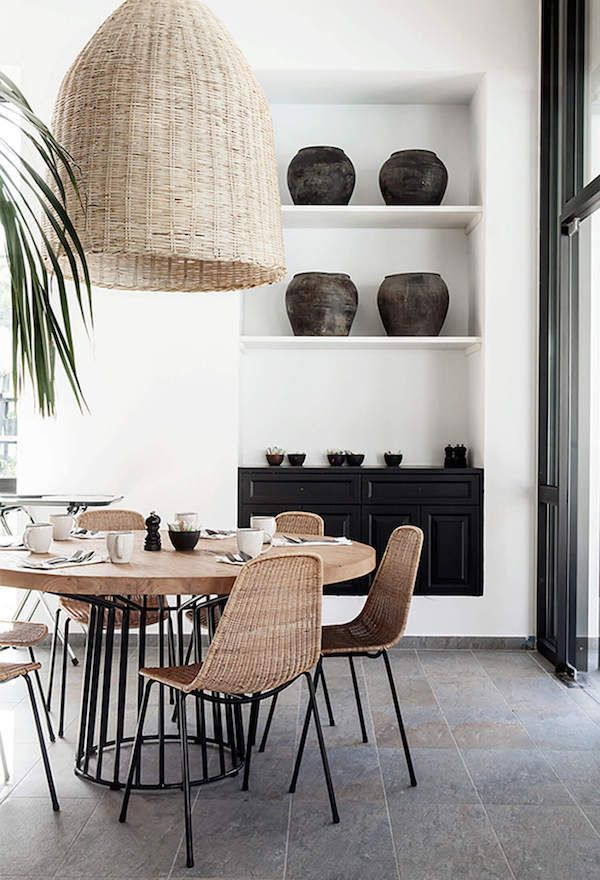 I know I'm not the first to jump on the rattan bandwagon, but I'm partial to a modern (rather than vintage-y) spin on the trend. This dining room is a prime example! The round dining table is made of mixed materials giving off a chic, contemporary vibe. The oversized pendant…