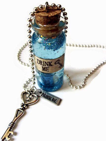 "Alice in Wonderland inspired ""Drink Me"" necklace"