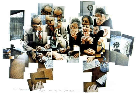 David Hockney - The Crossword Puzzle. David Hockney makes collages from photogaphs creating a fragmented viewpoint