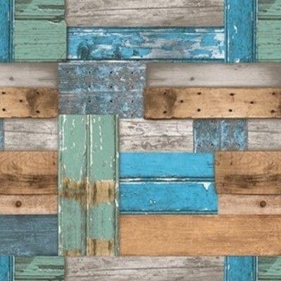 Tafelzeil Sloophout Blauw - Sloophout tafelzeil met stukken afvalhout in blauw en bruin. Het tafelzeil valt soepel om uw tafel en is gemakkelijk schoon te houden met een vochtige doek. Kies de gewenste lengte in het menu en wij snijden het graag voor u op maat.