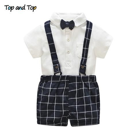 1f38e779c29f6 Top and Top Baby Boys Clothing Sets Bow White Rompers + Plaid ...