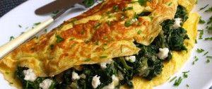 Omeleta se špenátem a brynzou