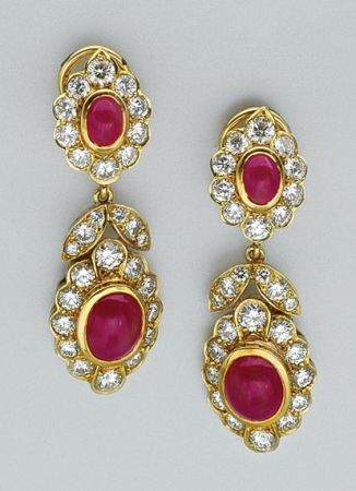 Cabochon ruby and diamond earrings. 18 kt., 56 diamonds ap. 6.90 cts., signed KW for Kwiat