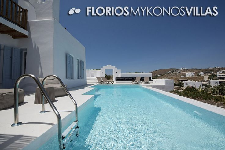 The infinity pool blends with the blue of the sea, thanks to the artificial waterfall that is created on the front side. The exterior setting of this residence is shaped in different levels creating more spaces, with both shaded living and dining rooms creating with pergolas, thus making a perfect environment for relaxation and sunbathing in Mykonos island. FMV1327 Villa for Rent on Mykonos island Greece. http://florios-mykonos-villas.com/property/fmv1327/