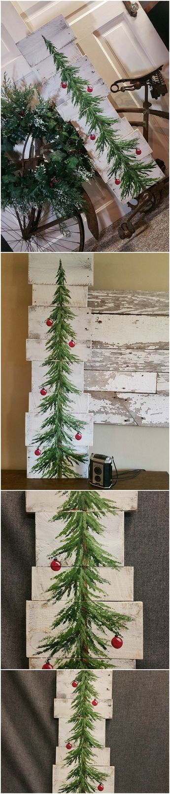 """White washed, Red bulbs, Christmas Pine tree Reclaimed Wood Pallet Art, Christmas Hand painted, upcycled, Wall art, Distressed  Original Acrylic painting on reclaimed Pallet boards. This unique piece is 36"""" x apprx. 12""""  This Christmas tree with red bulbs on a white-washed background is perfect for a personalized rustic touch to your Christmas decorating. Perfect for that skinny wall space or just lean it against the wall."""
