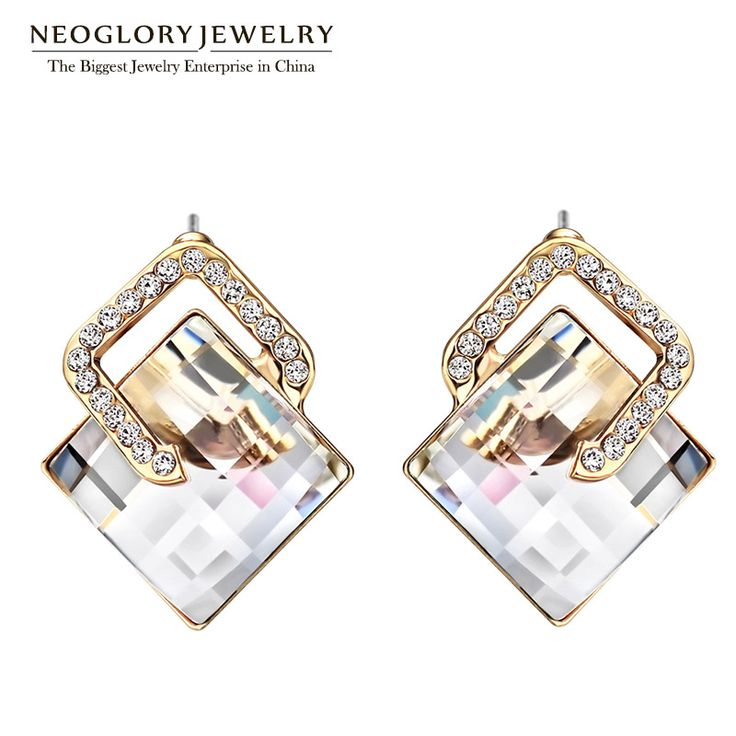 White Austrian Rhinestone Rose Gold Plated Stud Earrings For Women Vintage Fashion Jewelry  Brinco