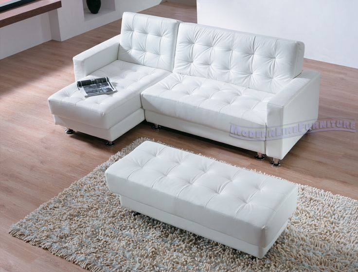 Leather Sofas DiverCity Designs White Leather Contemporary Sectional Sofa Sleeper with an Ottoman