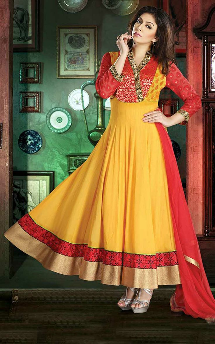 RED & YELLOW GEORGETTE #ANARKALI SALWAR KAMEEZ - DIF 29522