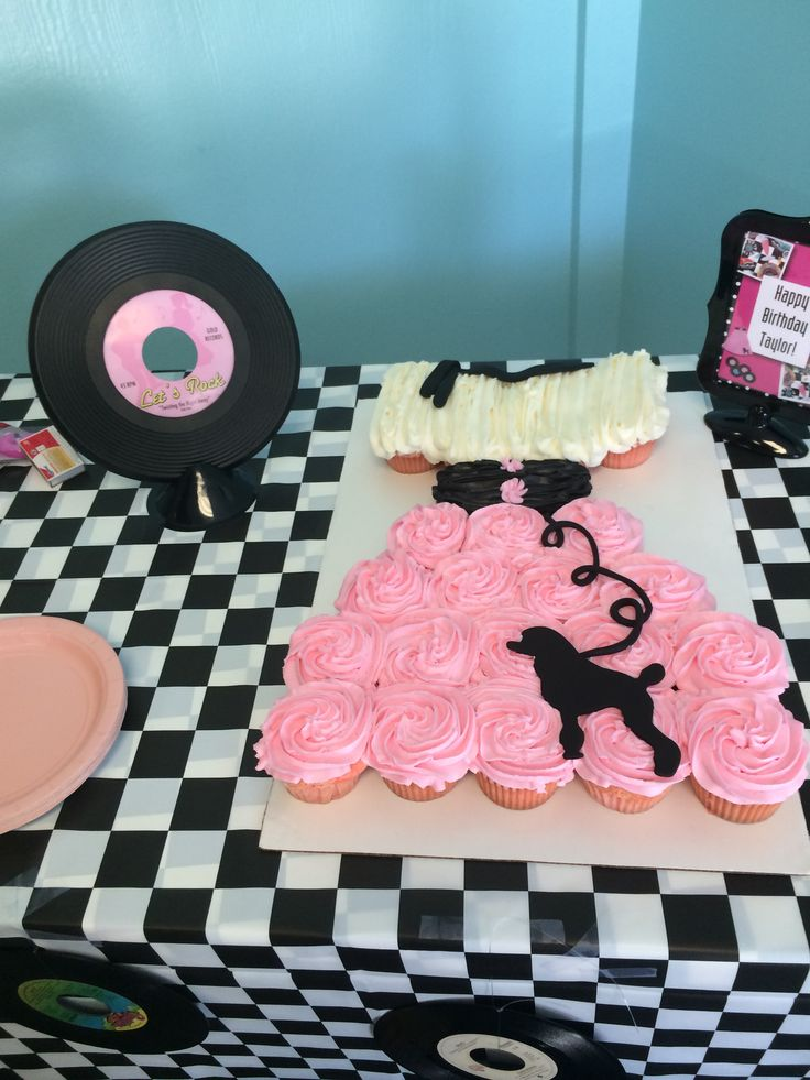 Poodle skirt pull apart cupcake cake