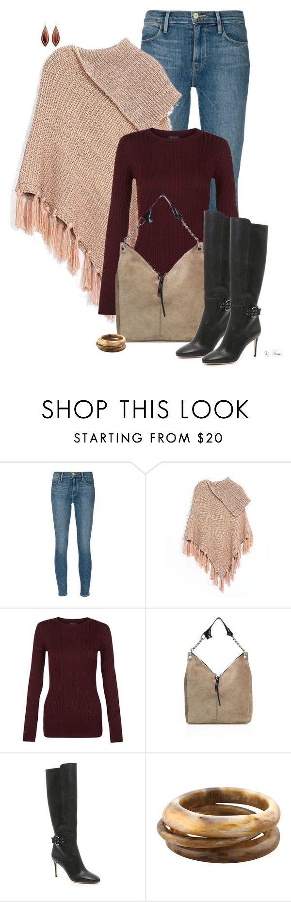 """""""Getting cold"""" by ksims-1 ❤ liked on Polyvore featuring Frame Denim, Do Everything In Love, Jimmy Choo, Angélique de Paris and Mark Davis"""