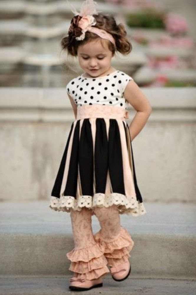 364fb092d2e4c Girl's cute PINK and black 2 piece summer outfit with lace ruffle bottoms  and polka dot dress top.