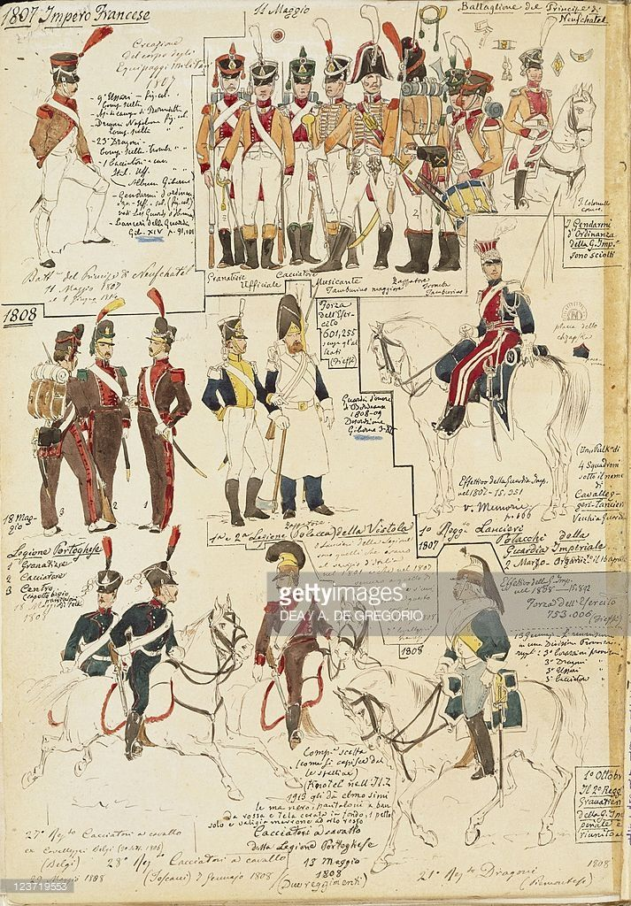 Foto stock : Military uniforms of French Empire, by Quinto Cenni, color plate, 1807-1808
