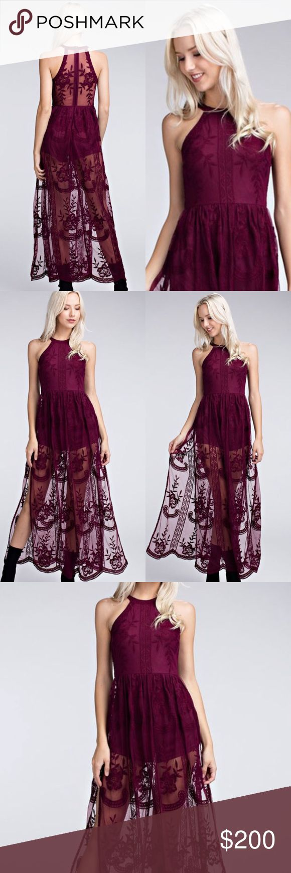 Coming 🔜 Wine Sheer Halter Lace Maxi Dress Romper Transition into fall with this Honey Punch Romper maxi dress. Honey Punch has taken their best selling Lace embroidered romper maxi and turned it into a halter style, with a high neckline. Pair this with Gladiator Sandals for the perfect Boho look. Price will be $65 firm, LIKE LISTING TO BE NOTIFIED OF ARRIVAL. ESTIMATED DELIVERY DATE IS 09/01. No holds, no trades. Bundle for discount. Honey Punch Dresses