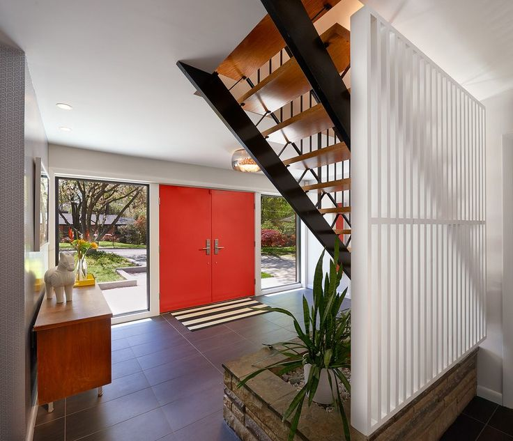 Innovative materials entry midcentury with front door red red entry door