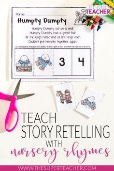 Here is a FREE Nursery Rhymes activity! Practice story retelling skills in preschool or kindergarten with these nursery rhyme worksheets!