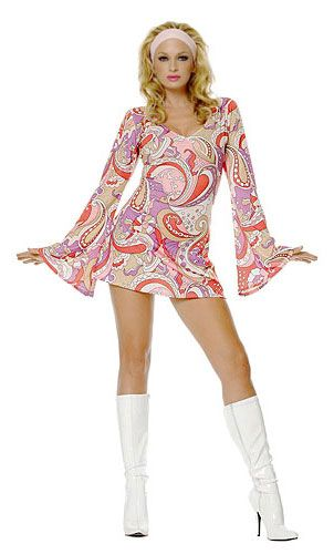 disco costume------Disco music influenced women's fashion in the 70s and they wore mini skirts and dresses with loud prints and clolrs