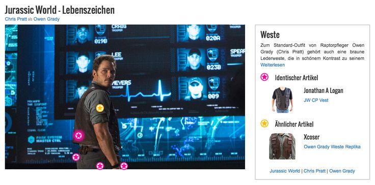 Zum Standard-Outfit von Raptorpfleger Owen Grady (Chris Pratt) gehört auch eine braune Lederweste, die in schönem Kontrast zu seinem blauen Hemd steht. Seinem Style gibt sie eine etwas verwegene, rustikale Note und sorgt für einen authentischen Look. Außerdem bietet die Weste durch die aufgesetzten Taschen gleich mehrere Möglichkeiten, nützliche Utensilien zu verstauen.