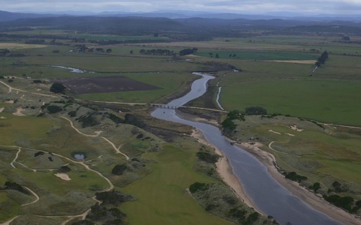 Arial view of the hinterland of Dorset, North East Tasmania showing the Great Forester River as it runs between the world class links golf courses of Barnbougle Dunes and Barnbougle Lost Farm.  Barnbougle Dunes is Australia's No. 1 public access links course!
