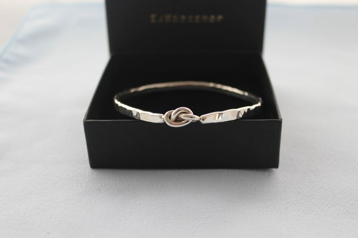 Hammered Sterling Silver Knot Bangle- Hand Crafted solid silver Bangle